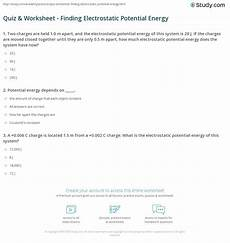 quiz worksheet finding electrostatic potential energy