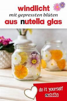 windlicht mit gepressten bl 252 ten aus nutella glas nutella