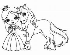 unicorn and princess coloring page coloringcrew