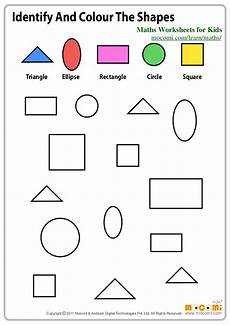 colors shapes worksheets 12808 identify and colour the shapes maths worksheets for mocomi c