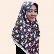 Jual Jilbab Segi Empat Motif Bunga Katun