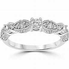 1 2ct vintage diamond wedding ring 14k white gold womens art deco stackable band ebay