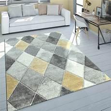 teppich gelb grau kurzflor teppich rauten muster gelb grau teppichcenter24