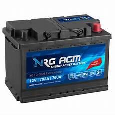 Nrg Agm Autobatterie 12v 70ah 760a En Start Stop Plus Vrla
