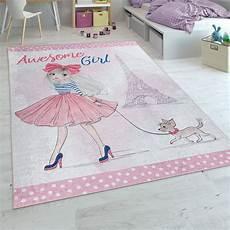 kinderzimmer teppiche teppich kinderzimmer m 228 dchen design print rosa mirai