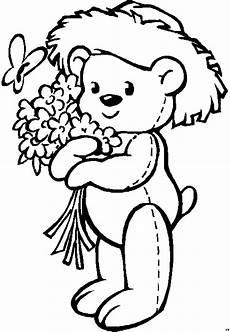 Gratis Malvorlagen Kinder Gratis Baerchen Mit Blumenstrauss Ausmalbild Malvorlage Kinder