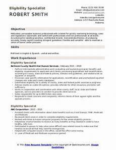 eligibility specialist resume sles qwikresume