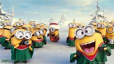 minions wishing merry christmas with your logo make your own desktop background