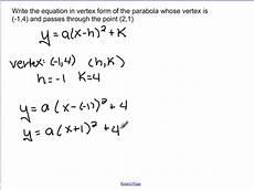 writing equations in vertex form vimeo
