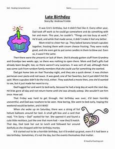 free 4th grade reading worksheets reading comprehension worksheet late birthday