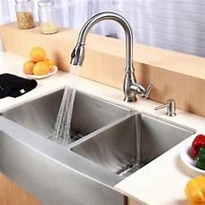 kraus farmhouse 33 quot 60 40 double bowl kitchen sink