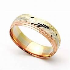 double accent 14k tri color gold 6mm diamond cut wedding