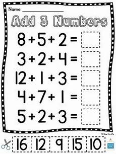 1st grade math worksheet adding 3 numbers grade math unit 12 adding 3 numbers cut and paste