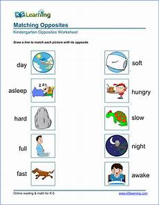 free preschool kindergarten opposites worksheets printable k5 learning