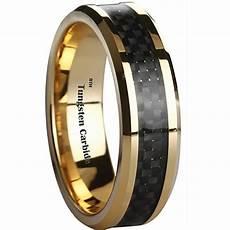 men s black carbon fiber inlay gold tone tungsten wedding