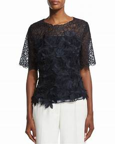 escada short sleeve 3d embroidered lace blouse in blue navy lyst