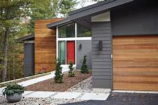 3 modern homes in many shades of mid century exterior colors wood accents