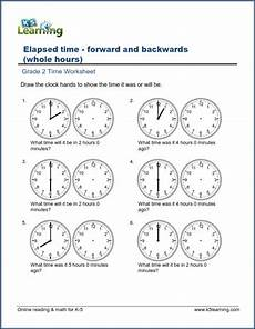 time duration worksheets grade 2 3517 grade 2 time worksheets changes in time whole hours k5 learning
