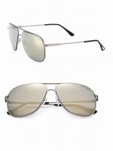 tom ford dominic 60mm navigator sunglasses in silver for