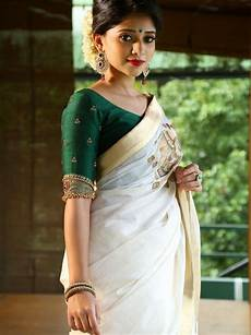 kerala saree style kerala saree what blouse suits a silver border kerala saree quora