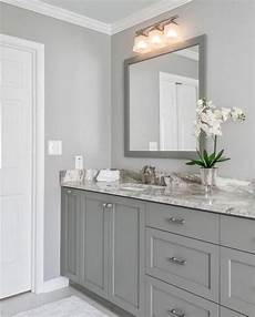 both wall color and cabinetry color are sherwin williams light gray small bathroom