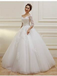 3 4 length sleeves v neck lace wedding dresses bridal