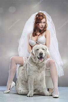 dog hair in wifes panties stories young woman wearing wedding lingerie with dog stock photo 169 aarrttuurr 10643006