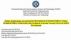 csir niist recruitment of medical officer technical asst