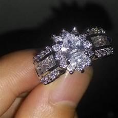 oval shape sim diamond 14k white gold plated 925 silver