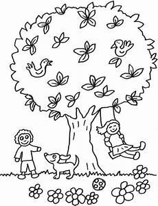 kostenlose malvorlage b 228 ume kinder spielen unter dem baum