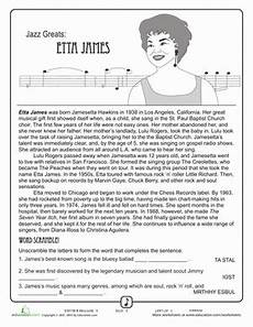 jazz greats etta comprehension worksheets black history month and black history