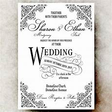 black and white wedding invitation vintage wedding
