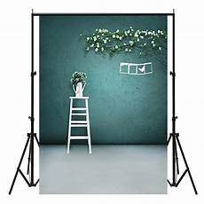 3x5ft Black Photography Backdrop Background Studio by 3x5ft Green Wall White Vase Indoor Photography Background