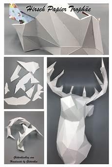 Hirsch Papier Troph 228 E 3d Origami Hirsch Papier Und
