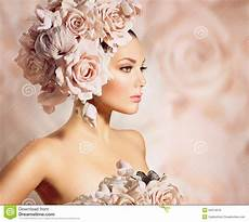 model girl with flowers hair image of lips