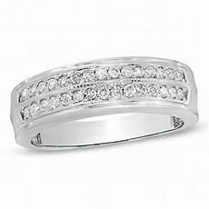 men s 1 2 ct t w diamond double row wedding band in 10k white gold wedding bands wedding