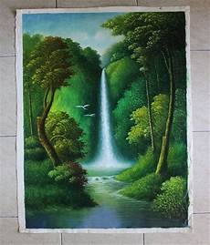 Jual Lukisan Pemandangan Hutan Dan Air Terjun S 48 Di