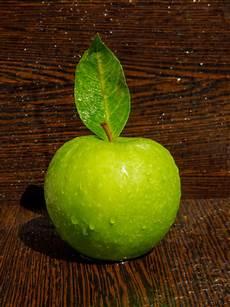 Malvorlage Apfel Mit Blatt K 252 Hler Gr 252 Ner Apfel Mit Blatt Auf Gebogenem Dunklem Holz