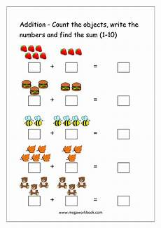 grade math addition worksheet with pictures free printable number addition worksheets 1 10 for