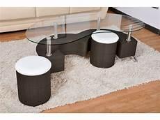 table basse pouf intégré table basse avec plateau en verre 2 poufs orfee coloris
