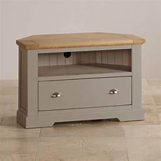 Tv Schrank Ecke - st ives corner tv cabinet in grey painted acacia with oak top