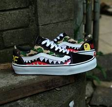 Jual Sepatu Vans Oldskool jual sepatu vans oldskool custom bape sharktooth original