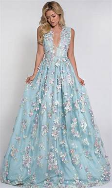 2016 free shipping beautiful deep v neck light blue satin prom dress with flower back see