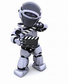 Robot With Clapper Board Photo Free