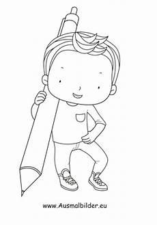 ausmalbilder junge mit kugelschreiber kinder malvorlagen