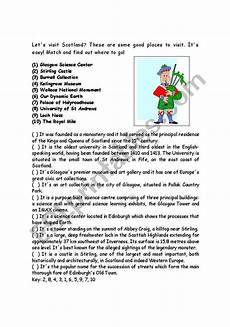 places to visit worksheets 16035 scotland places to visit esl worksheet by silvinohig