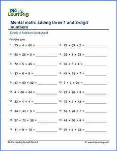 4 digit addition worksheets for grade 4 9165 grade 4 math worksheet addition adding three 1 and 2 digit numbers k5 learning