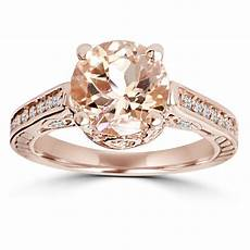 morganite diamond vintage engagement ring 2 carat 14k rose gold ebay