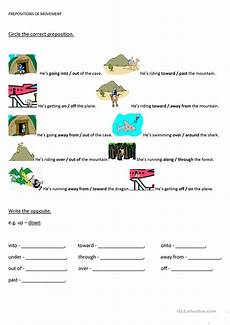 18 free esl prepositions of movement worksheets