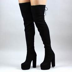 black boots suede thigh high platform boots for
